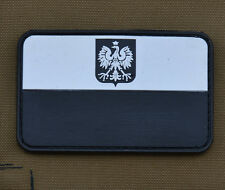 "PVC / Rubber Patch ""Polish Black & White Flag"" with VELCRO® brand hook"