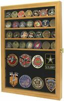 Challenge Coin Badges Ribbons Medal Pin Display Case Cabinet Shadow box