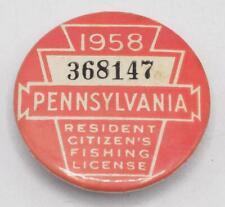 1958 Pa Pennsylvania Fishing License Resident Button Vintage