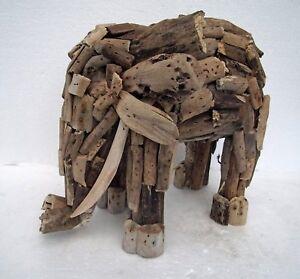 Hand Made Driftwood Standing Elephant Unusual Driftwood Elephant Ornament