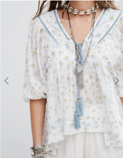 Free People Never A Dull Moment Blouse M Medium Blue White Tunic Top Tassel New
