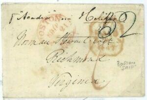USA TRANSATLANTIC Cover Virginia Maritime *Boston Ship* Letter 1842 London 31.28