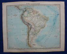 Original antique map SOUTH AMERICA, BRASIL, CHILE, PERU, ECUADOR, Stieler, 1891