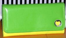 XOXO Wallet Hole Hearted Lime Green Yellow Checkbook Bifold Clutch NEW