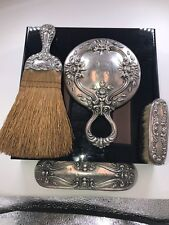 Antique Whiting Manufacturing Company Lily Pattern Sterling Silver Vanity Set