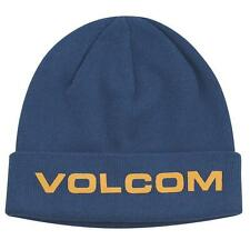 Volcom Stone Synth Cuffed Beanie Hat Cap Navy Blue 100% Cotton New NWT OSFM