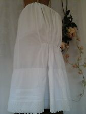 Antique French Victorian Bustle Skirt ~Handmade Lawn Cotton /Embroidery Anglaise