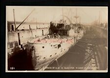 PORTSMOUTH WRECK OF HMS GLADIATOR IN DRY DOCK Broderick REAL PHOTO PC 1908 SH115