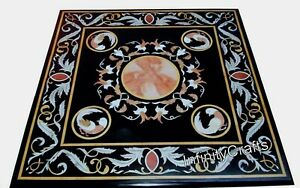 Pietra Dura Art Hand Crafted Patio Sofa Table Top Marble Coffee Table 30 Inches