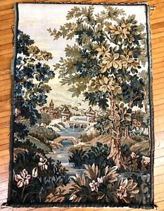 """Woven French Countryside Vintage 40"""" Castle Floral Hanging Wall Tapestry w/ Rods"""