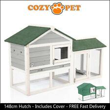 Rabbit Hutch & Cover 148cm by Cozy Pet Grey Guinea Pig Hutches Run Ferret Runs