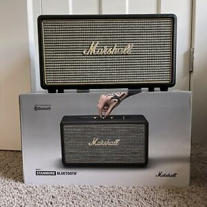 MARSHALL ACTON POWERFUL BLUETOOTH OR MINI PLUG IN SPEAKER BLACK WITH GOLD LOGO