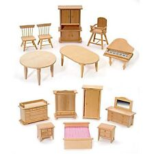 Miniature Unfinished Furniture Bedroom Kitchen Baby Dollhouse or Fairy Garden