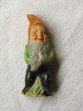 Nr C714 // Uralt Miniatur Gartenzwerg aus Ton-Keramik,Bemalt , 6 cm hoch