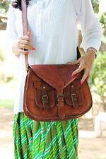 Women Vintagelooking Style Genuine Brown Leather Cross Body Shoulder Bag Purse