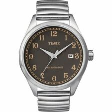 TIMEX T SERIES SILVER TONE S/STEEL EXPANDER,BROWN DIAL WATCH-T2N400