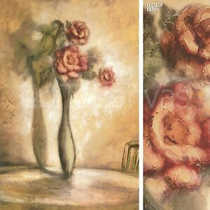 """24""""x36"""" ALWAYS & FOREVER II by REBECCA BURTON FLOWERS IN VASE with SHADOW CANVAS"""