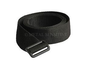 Black Nylon Webbing Belt PLASTIC Buckle METAL FREE Nickel Allergy safe NO METAL