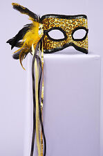 Leopard Masquerade Venetian w/ Feather Party Costume Mask