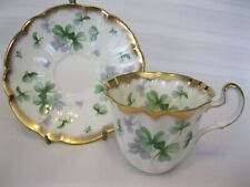 Dainty Scalloped Adderley Shamrock with Heavy Gold Rim Cup & Saucer