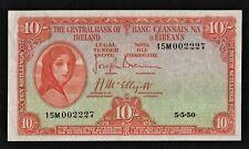IRELAND 1950 (15M) 10/ SHILLING  LADY LAVERY BANKNOTE