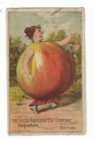 1887 Trade Card Great American Tea Co Importers NY Woman Apple Body Apple Sauce