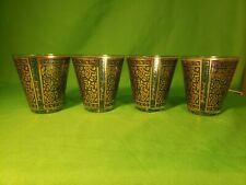 Georges Briard Rock Glasses Spanish Gold, blue, green Mcm Bar Cocktail
