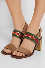 Gucci Schuhe Sandalen 37,5 Braun Gold Blockabsatz Leder Horsebit Sandals Velours