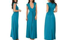 Lyss Loo Women Blue Stretch Long Maxi Blue Dress Casual Short Sleeve Medium New