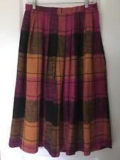 VTG ANN STEVENS Women's Linen Like 80s A-line Plaid Textured Midi Skirt Sz 30