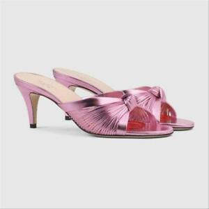 NIB GUCCI Crawford pink leather knotted sandals slides IT 40; Rtl $890