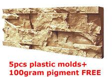 Plastic Molds for Concrete Plaster Wall Stone Tiles 5pcs CONCRETE MOULD Brick