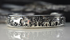Sterling Silver cuff style Bracelet w/ scenic shadowboxed detailed Horse scenes