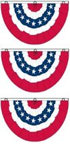 (3 Pack) 3x5 USA American America U.S. Bunting Fan Flag Banner Grommets 5x3