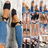 Women Sandals Flat Wedge Strappy Espadrilles Peep Toe Beach Flip Flops Shoes US