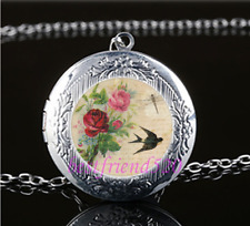 Bird & Rose Photo Cabochon Tibet Silver Chain Locket Pendant Necklace
