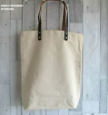 Canvas Bag with Brown Leather Handles, Shopper, Tote, Bag For life, Crafts.