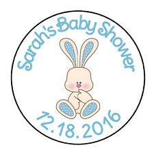 "24 PERSONALIZED BOY BLUE BUNNY BABY SHOWER FAVOR LABELS ROUND STICKERS 1.67"" *"