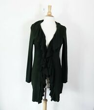 RALPH LAUREN // Size L // NEW Olive Ribbed Ruffle Trim Knit Cardigan