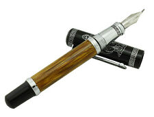 Duke 551 Confucius Bent Nib Fountain Pen , Natural Bamboo Barrel Calligraphy Pen