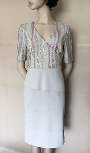 GINA BACCONI Grey Lace Embroiderd Tiered Party Dress, size UK 8, RRP$300