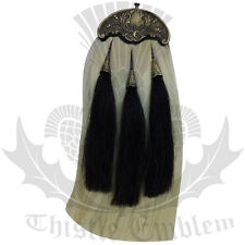 Piper Kilt Sporran Original White Horse Hair Antique Cantle 3 Black Hair Tassles