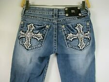 F2180  Women's MISS ME Rhinestone Cross Boot Cut  Denim Jeans Size 25