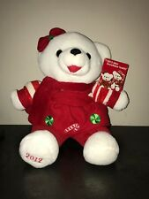 """2012 WalMART CHRISTMAS Snowflake TEDDY BEAR White Girl 13"""" Red Cothes Brand New."""