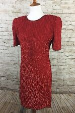 Laurence Kazar New York Sequined Silk Vintage Cocktail  Dress Red PS Small VTG