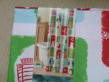 Christmas Snowman Penguin Red White Blue Green Fabric Shower Curtain Nwt