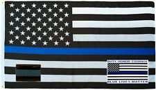 Wholesale 3x5 Police USA Thin Flag Decal Sticker Thin Blue Line Lapel Pin Set 1