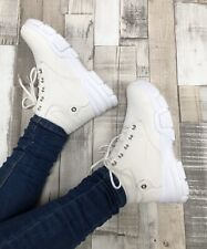 White Trainer Boots Size 6 Worker Hiker Casual Lace Up Ladies Faux Leather