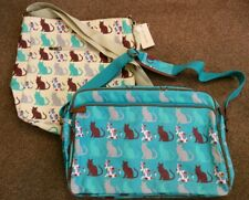 2 BNWT Oil cloth Cats Print Cross Body Shoulder Overnight Bag Blue cream