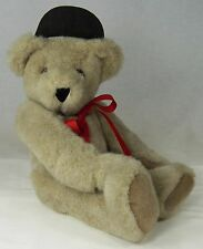 """Vermont Teddy Bear in Baseball Cap & Red Ribbon Bow Beige Plush Jointed 1992 16"""""""
